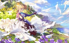 Picture girl, blonde, letters, Violet Evergarden