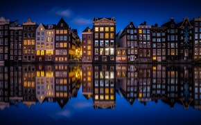 Wallpaper night, Netherlands, channel, Amsterdam, lights, the city, home, reflection