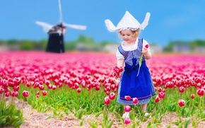 Picture flowers, child, hat, colorful, dress, girl, tulips, dress, fields, tulips, child, little girls