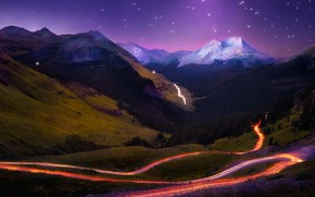 Picture road, forest, the sky, stars, snow, landscape, mountains, night, nature, lights, hills, the slopes, tops, ...