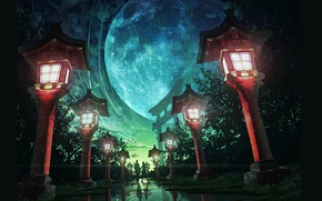 Picture summer, night, Japan, lights, track, two, the full moon, alley, torii gate, the road into …