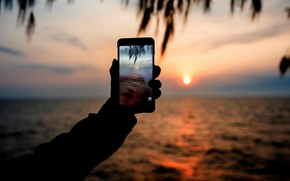 Picture sea, sunset, photo, phone