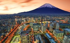 Wallpaper my planet, travel, skyscrapers, wallpaper., blur, bokeh, Japan, the largest port city, strip light, Fuji, ...