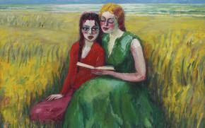 Picture girls, oil, book, canvas, Kees van Dongen, Fauvism, In the dunes, 1927-1930