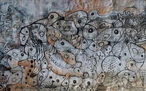Picture wall, graffiti, figure