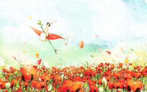 Picture the sky, clouds, fantasy, figure, spring, petals, fairy, watercolor, poppy field, Thumbelina, fabulous picture, flight …