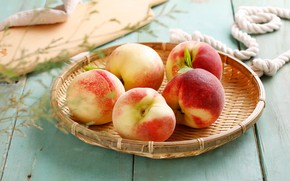 Picture fruit, basket, peach, leaves