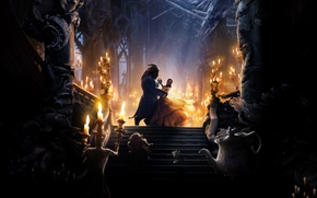 Wallpaper teapot, stairs.candles, chandelier, fantasy, the musical, mirror, pair, Cup, Beauty and the beast, Emma Watson, ...