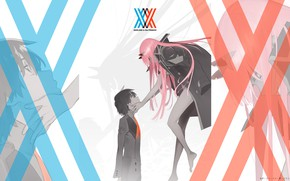 Picture anime, art, two, darling in the frankxx