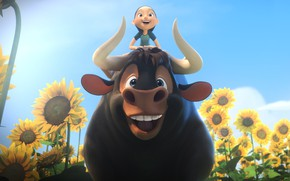 Picture girl, flower, bull, friends, animated film, Ferdinand, hana, animated movie