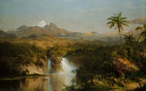 Wallpaper landscape, Frederic Edwin Church, A View Of Cotopaxi, mountain, picture, the volcano