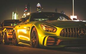 Picture night, Mercedes-Benz, lighting, Green Monster