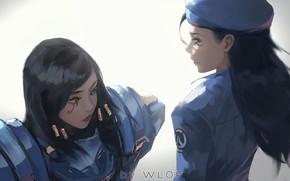 Picture game, girls, digital art, artwork, uniform, Painting, Ana, Overwatch, Pharah, Wlop