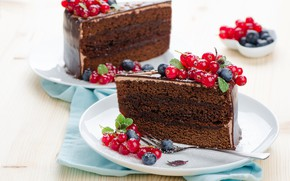 Picture berries, chocolate, blueberries, cake, cream, powdered sugar, red currant