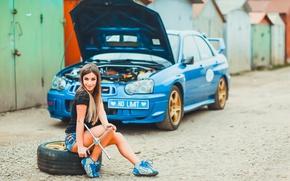 Picture auto, look, Girls, Subaru, key, hairstyle, beautiful girl