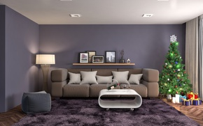 Picture rendering, room, sofa, holiday, wine, balls, toys, bottle, new year, interior, carpet, pillow, glasses, gifts, …