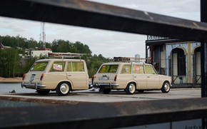 Wallpaper Soviet classics, 2102, tuning, Lada, the trailer, cream, retro