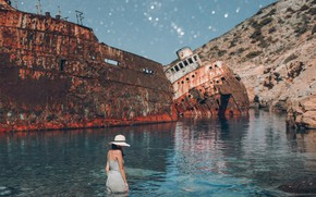 Wallpaper Greece, shipwreck, The Aegean sea, the situation, The Island Of Amorgos, rusty ships, Amorgos Island, ...