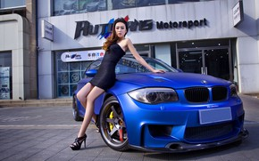 Picture look, Girls, BMW, hairstyle, Asian, beautiful girl, blue auto
