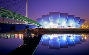 Picture night, lights, Scotland, Glasgow, Convention center, exhibition hall
