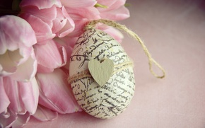 Wallpaper flowers, bouquet, Easter, tulips, heart, wood, pink, romantic, tulips, spring, Easter, pink tulips, egg