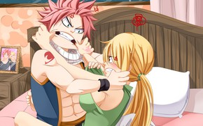 Picture anime, art, Fairy Tail, Natsu, Lucy, Fairy tail