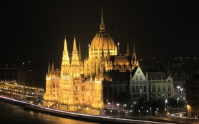 Picture night, lights, Parliament, Hungary, Budapest