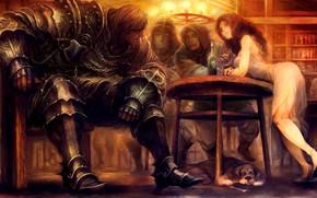 Picture girl, fantasy, soldier, armor, Warrior, dog, men, digital art, artwork, table, fantasy art, knight, bottle, …