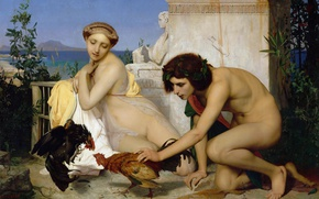 Wallpaper picture, Jean-Leon Gerome, mythology, Young Greeks Cock Fight