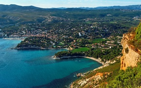 Picture sea, trees, mountains, rocks, coast, France, home, panorama, Sunny, Provence, Calanque, Port Miou