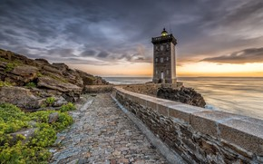 Picture sea, the sky, sunset, stones, shore, France, lighthouse, Kermorvant, Lighthouse
