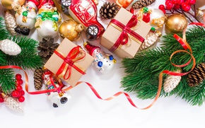 Wallpaper balls, branches, holiday, toys, gifts, New year, snowmen, machine, bumps, ribbons, boxes