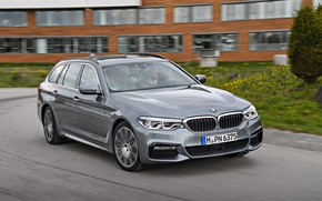 Picture road, asphalt, grey, movement, lawn, vegetation, the building, BMW, universal, Touring, 530d, 5, 2017, 5-series, …