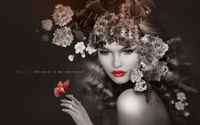 Picture girl, flowers, lips, wreath