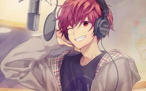 Picture music, anime, headphones, art, guy