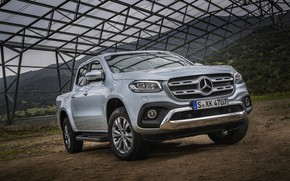 Picture mountains, grey, Mercedes-Benz, construction, plain, silver, pickup, 2017, X-Class