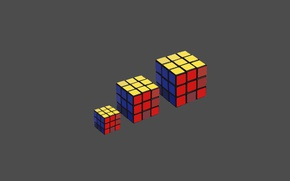 Picture macro, minimalism, three, Rubik's cube, color