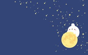 Picture night, mood, the moon, minimalism, stars, art, Molang