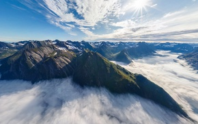 Picture clouds, mountains, nature, Norway