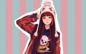 Picture strip, hat, skull, jacket, red, blue eyes, long hair, knitted, pompom