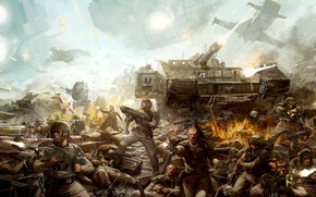 Picture people, war, ship, tank, warhammer, machines, slaughter