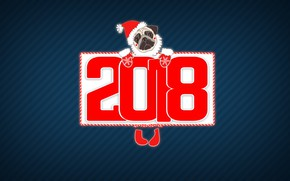 Wallpaper Winter, Pug, Minimalism, The Year Of The Dog, 2018, New year, Holiday, Dog, Mood, Background
