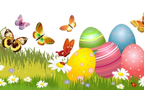 Picture Vector Graphics, Butterfly, Chamomile, Grass, Easter, Holiday, Eggs