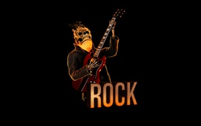 Picture red, fire, skull, guitar, minimalism, skeleton, sake, rock, black background, rock