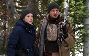 Picture cinema, girl, gun, pistol, weapon, woman, man, movie, shotgun, film, Jeremy Renner, Elizabeth Olsen, Wind …