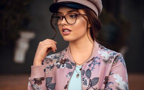 Picture model, portrait, makeup, glasses, hairstyle, cap, brown hair, beauty, bokeh, Lisa, Anatoly Oskin