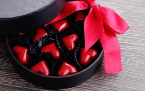 Picture box, candy, hearts, red, Valentine's day, bokeh, letochka