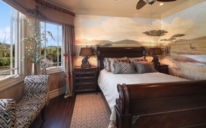 Picture house, room, bed, pillow, window, lamp, mansion, Design, chest, Bed, Interior, Bedroom