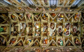 Wallpaper Revival, The Vatican, The Sistine chapel, the ceiling, murals, Michelangelo