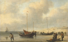 Picture people, shore, oil, picture, canvas, Willem van de Velde the Younger, Fishing Boats on the …